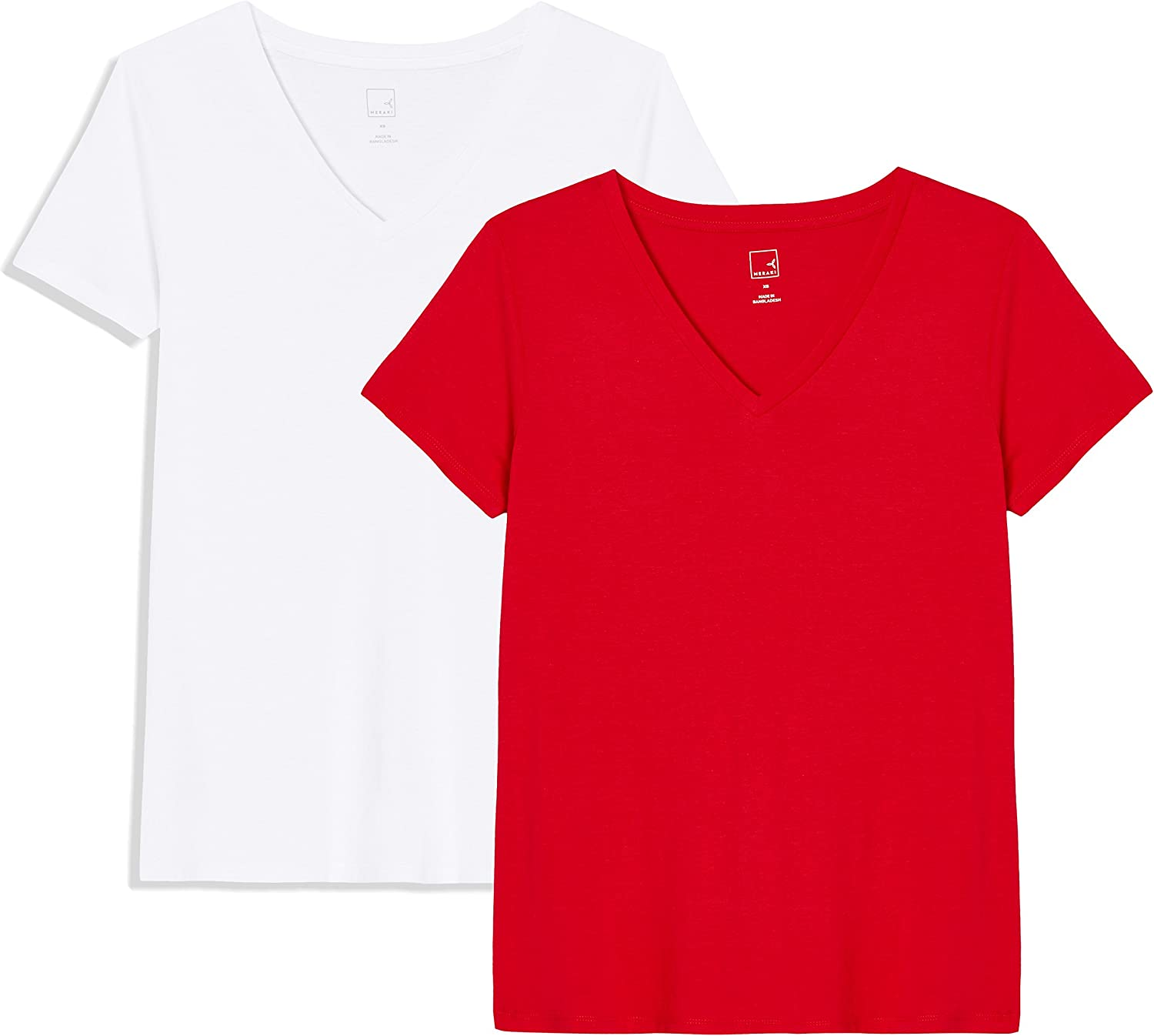 Marca Amazon - MERAKI V-Neck, Camiseta para Mujer, (Pack de 2)