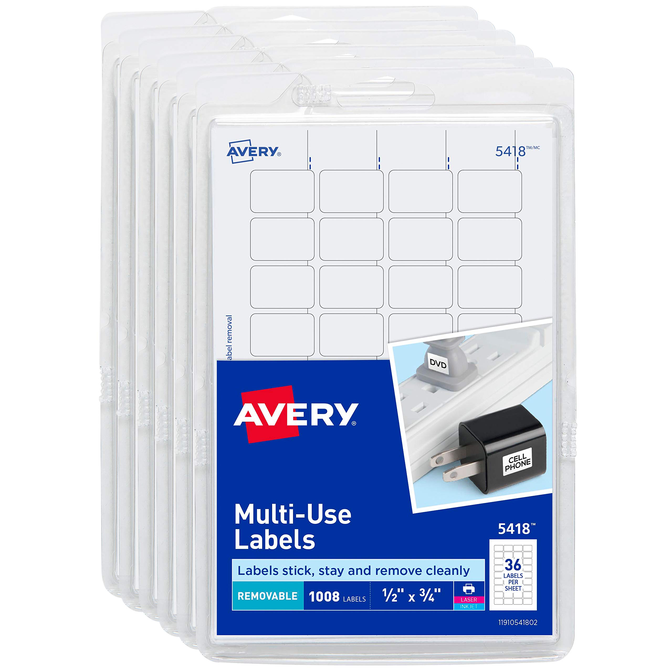 Avery Self-Adhesive Removable Labels, 1/2'' x 3/4'', White, 6000 Labels (6-Pack 5418) by AVERY