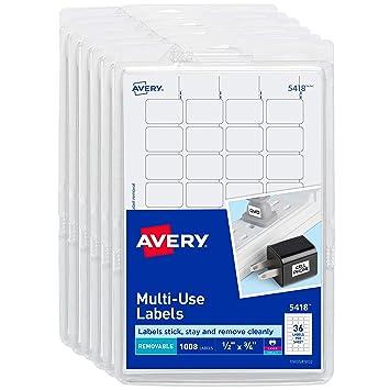 Amazon.com: Avery - Etiquetas autoadhesivas desmontables, 1 ...