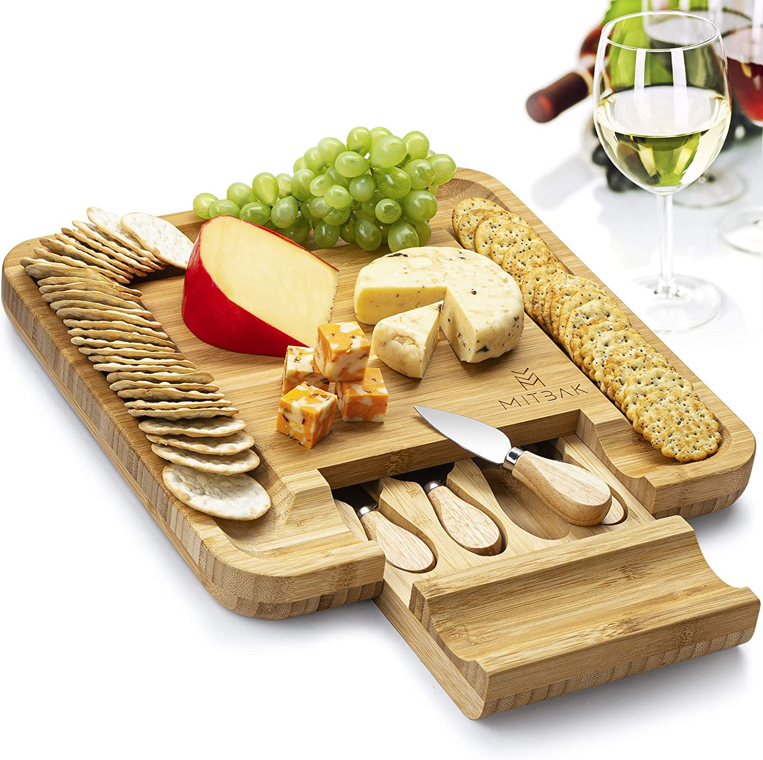 Mitbak Charcuterie Board Tray with 4 Cheese Knives   Bamboo Cheese Board Serving Tray   Cutting Board Platter Great Gift For Christmas, Anniversary, Bridal Shower, Housewarming   13 x 13 x 1.5 Inches