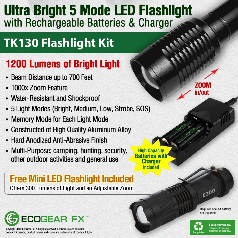 High Lumen Output 5 Light Modes EcoGear FX TK130 Kit Perfect Gift for Men TK130-KIT2 Emergency LED Flashlight Kit Adjustable Zoom Focus Water Resistant with Rechargeable Batteries and Charger