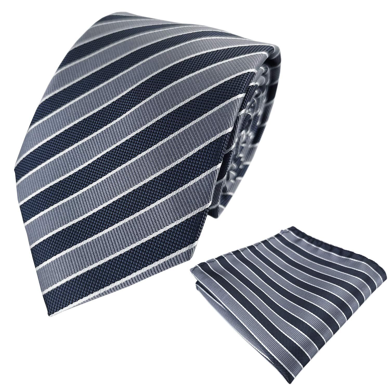 KOOELLE Mens Woven Necktie for Tuxedo Narrow Stripes Ties /& Pocket Square Set