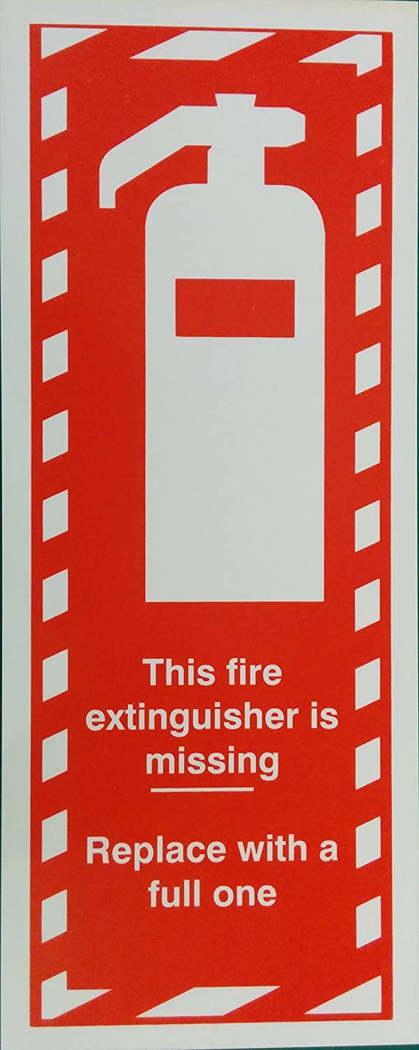 THIS FIRE EXTINGUISHER IS MISSING SIGN RIGID PLASTIC PRINTED 120x 300 MM SAFETY