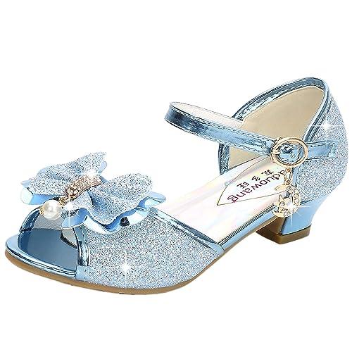 DJSJ- Niñas bebé, Zapatos de Princesa del Bowknot de Bling ...