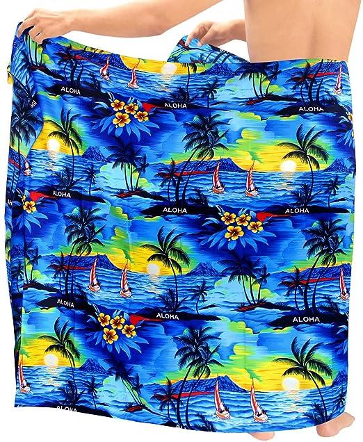 416276ff17f32 LA LEELA Soft Light Printed Swimsuit Wrap Pareo Mens Beach 72
