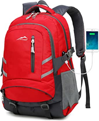 Backpack For School Bookbag College Student Business Travel with USB Charging Port Fit Laptop Up to 15.6 Inch Anti Theft Luggage Straps (Red)