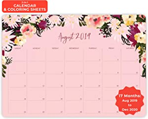 """MUDRIT 2019-2020 Desk Calendar, Academic Year Big Desktop/Wall Daily Planner (August 2019 Through December 2020), Large Monthly Pages 11""""x17"""", Giant Planning Blotter Pad, School Home Business Office"""