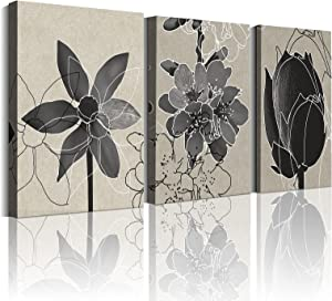 Flower Grey Wall Decor for Bedroom Decorations 12×16inch×3Panel with Frame Beige Flowers Canvas Wall Art Daffodil Peach and Lotus Bathroom Wall Pictures Grey Room Decor for Living Room Prints Artwork