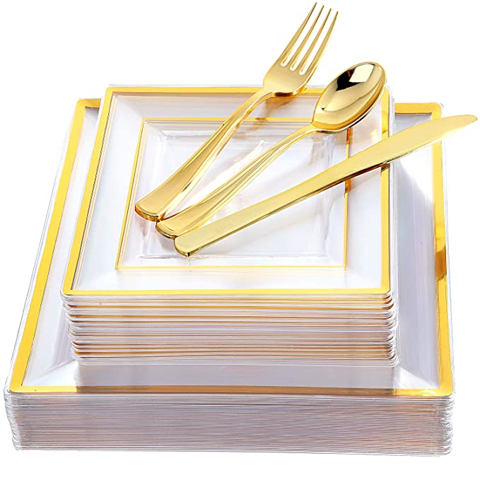 """IOOOOO 120 Pieces Gold Plastic Square Plates with Disposable Silverware, Premiun Heavyweight Clear Dinnerware Include: 24 Dinner Plates 9.5"""", 24 Dessert Plates 7"""", 24 Forks, 24 Knives, 24 Spoons"""
