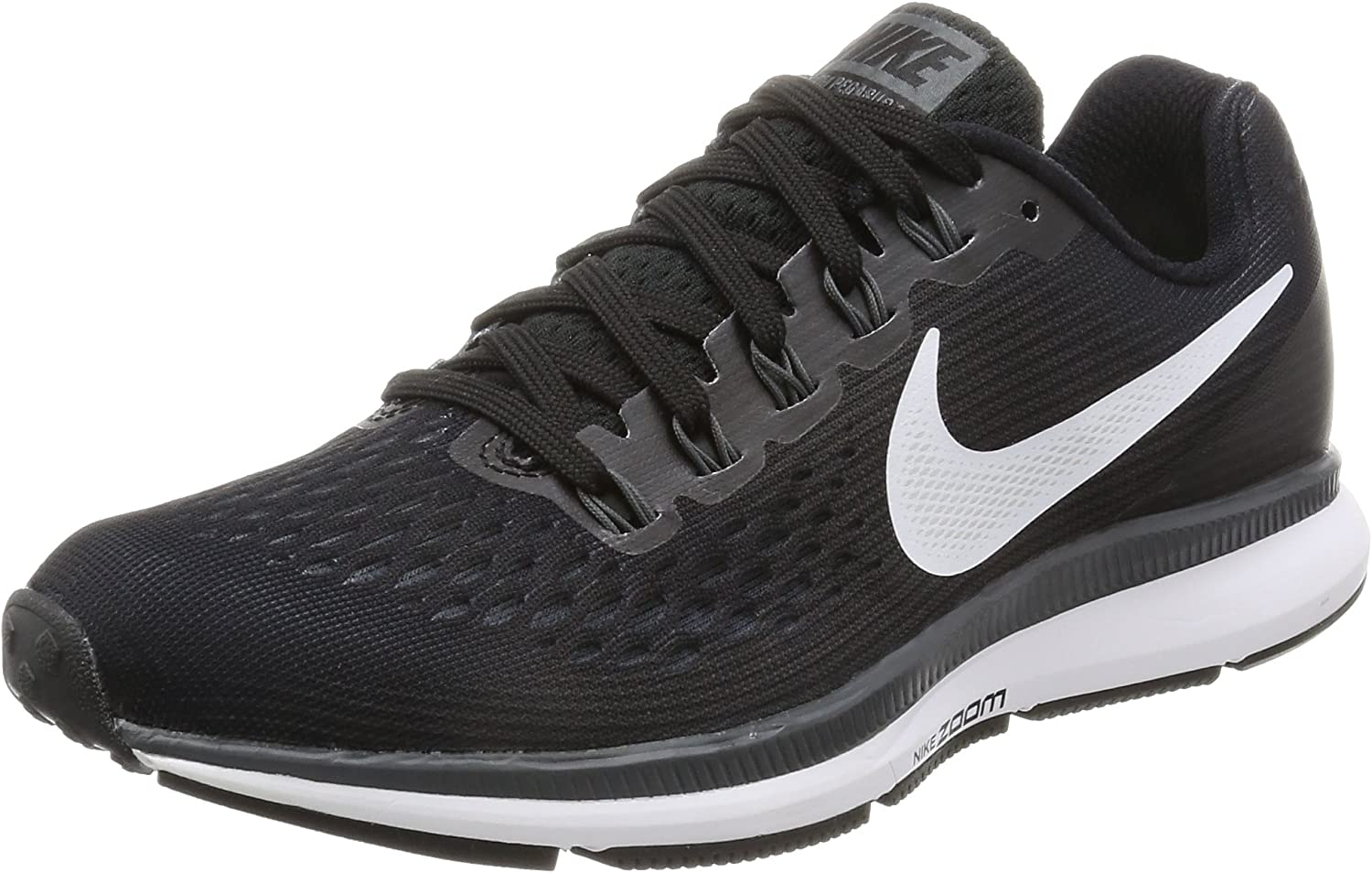 Nike Womens Air Zoom Pegasus 34 Black White Dark Grey Anthracite Running Shoes 6