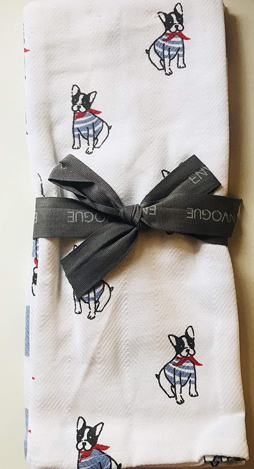 Set of 2 ENVOGUE Frenchie with Glasses 100/% Cotton Kitchen Towels