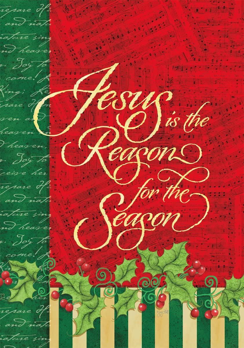 """Lang - Mini Garden Flag - Reason for The Season, Exclusive Artwork by Joy Hall - All-Weather, Fade-Resistant Polyester - 12"""" w x 18"""" h"""