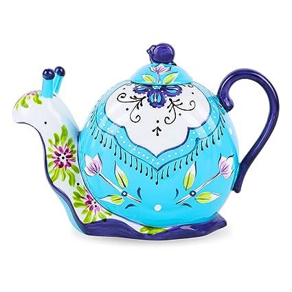 Schnecke Deko Geschenk Handbemalt Teekanne 1,2 L Porzellan Kaffeekanne Artvigor