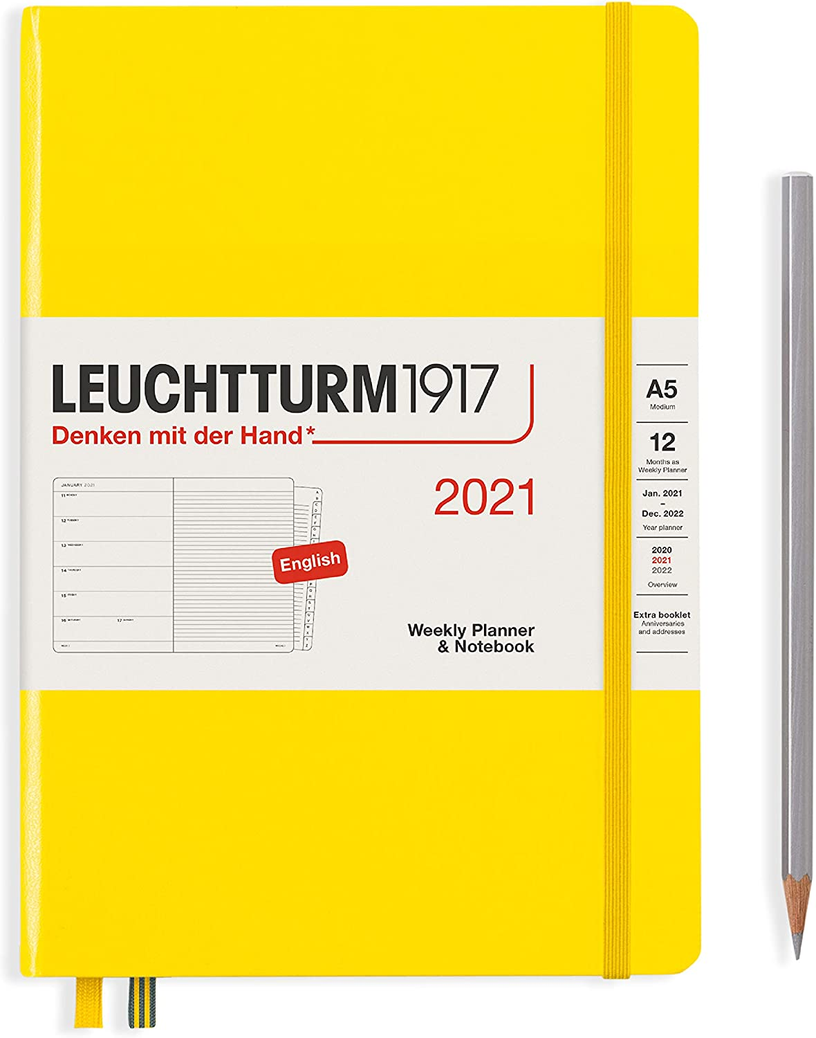 Leuchtturm1917 Weekly Planner & Notebook Medium (A5) 2021 with Extra Booklet, English, Lemon