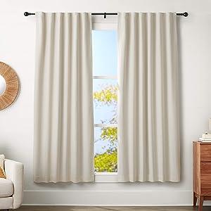 "AmazonBasics 1"" Curtain Rod with Round Finials - 72"" to 144"", Black"