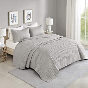 Comfort Spaces Kienna 3 Piece Quilt Coverlet Bedspread All Season Lightweight Filling Stitched Bedding Set, Oversized Queen, Gray
