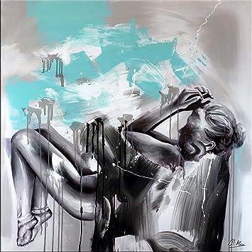 Dream And Space Abstraktes Acrylbild Mit Türkis Frauenakt