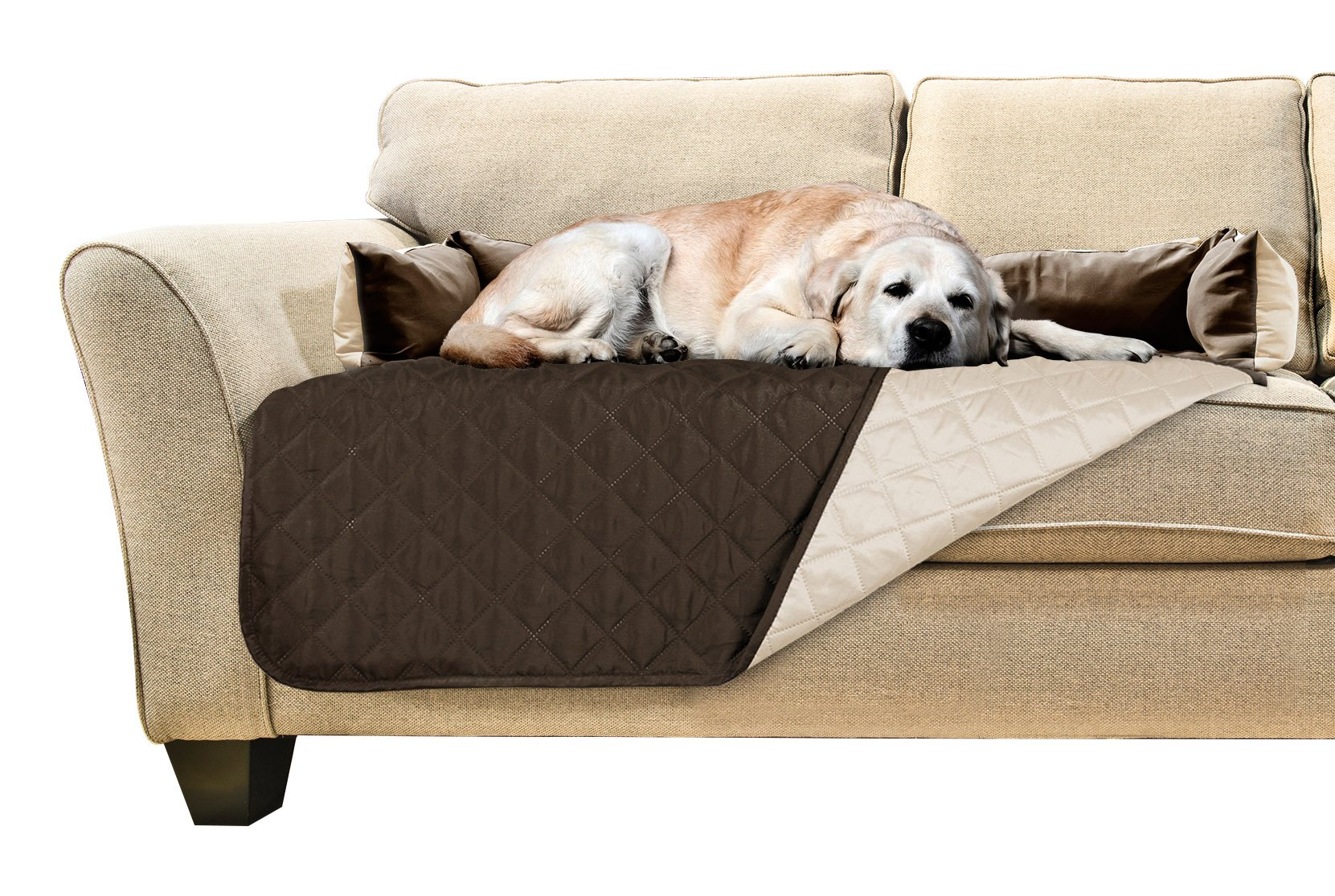 Furhaven Pet Sofa Buddy Reversible Furniture Cover Protector Pet Bed for Dogs and Cats, Large, Espresso/Clay
