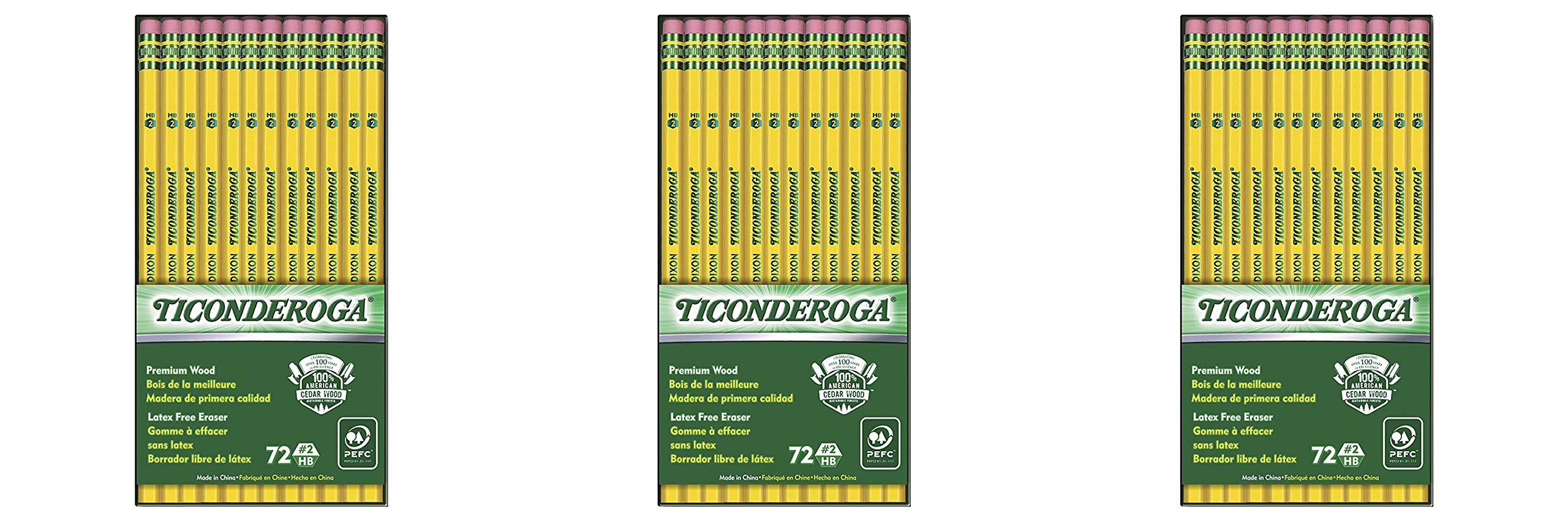 Ticonderoga Wood-Cased Graphite Pencils, 2 HB Soft, With Eraser, Yellow, 72 Count (33904) 3 Pack