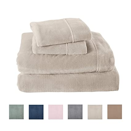 Extra Soft Cozy Velvet Plush Sheet Set. Deluxe Bed Sheets with Deep Pockets. Velvet Luxe Collection (Queen, Light Grey) best queen fleece sheet sets