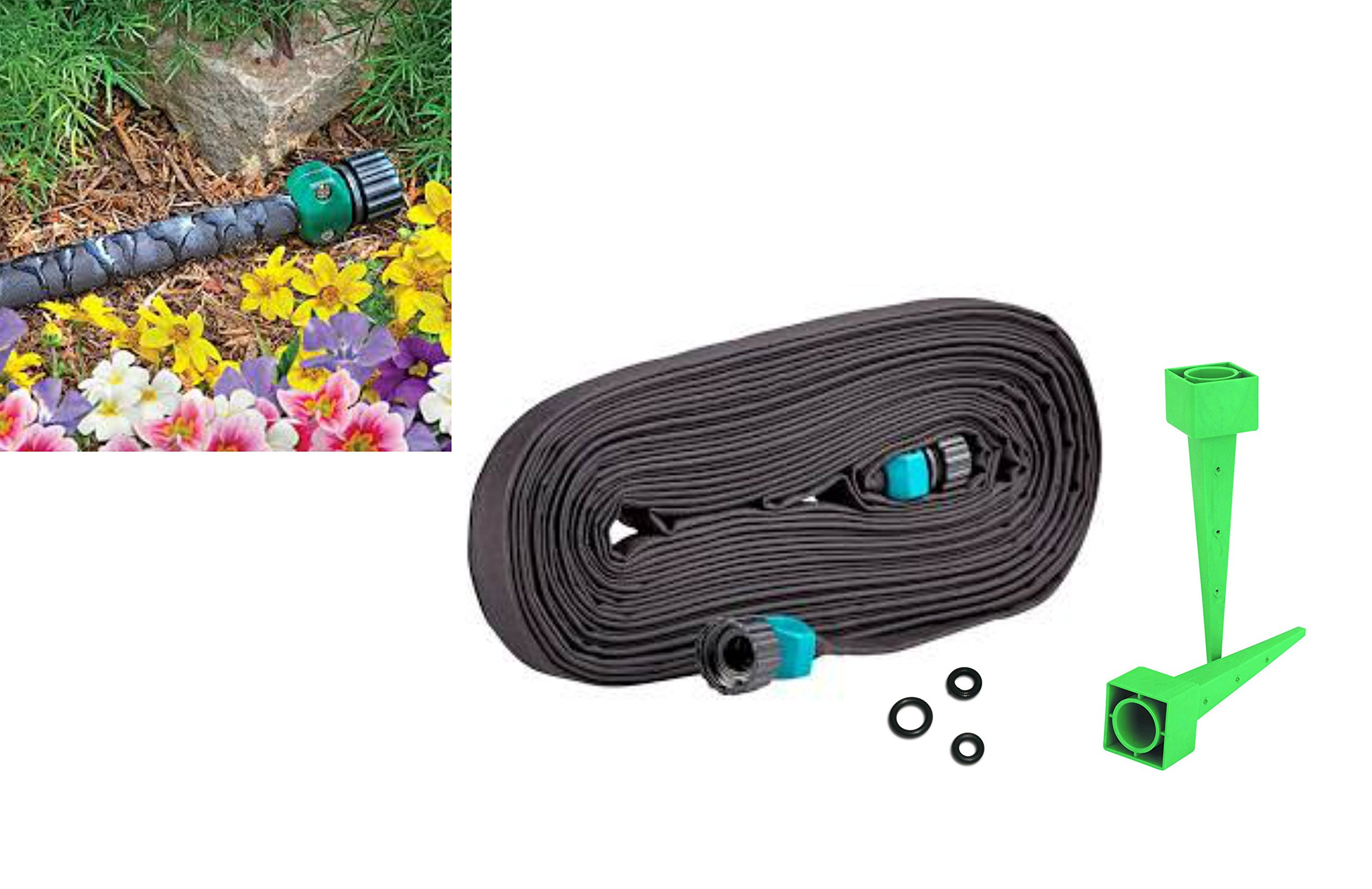 Super Grow Lawn Garden and Flower Bed Kit- 50 Feet soaker Supreme Flat 3/4 water Hose with 3 water flow control discs and 2 watering cones