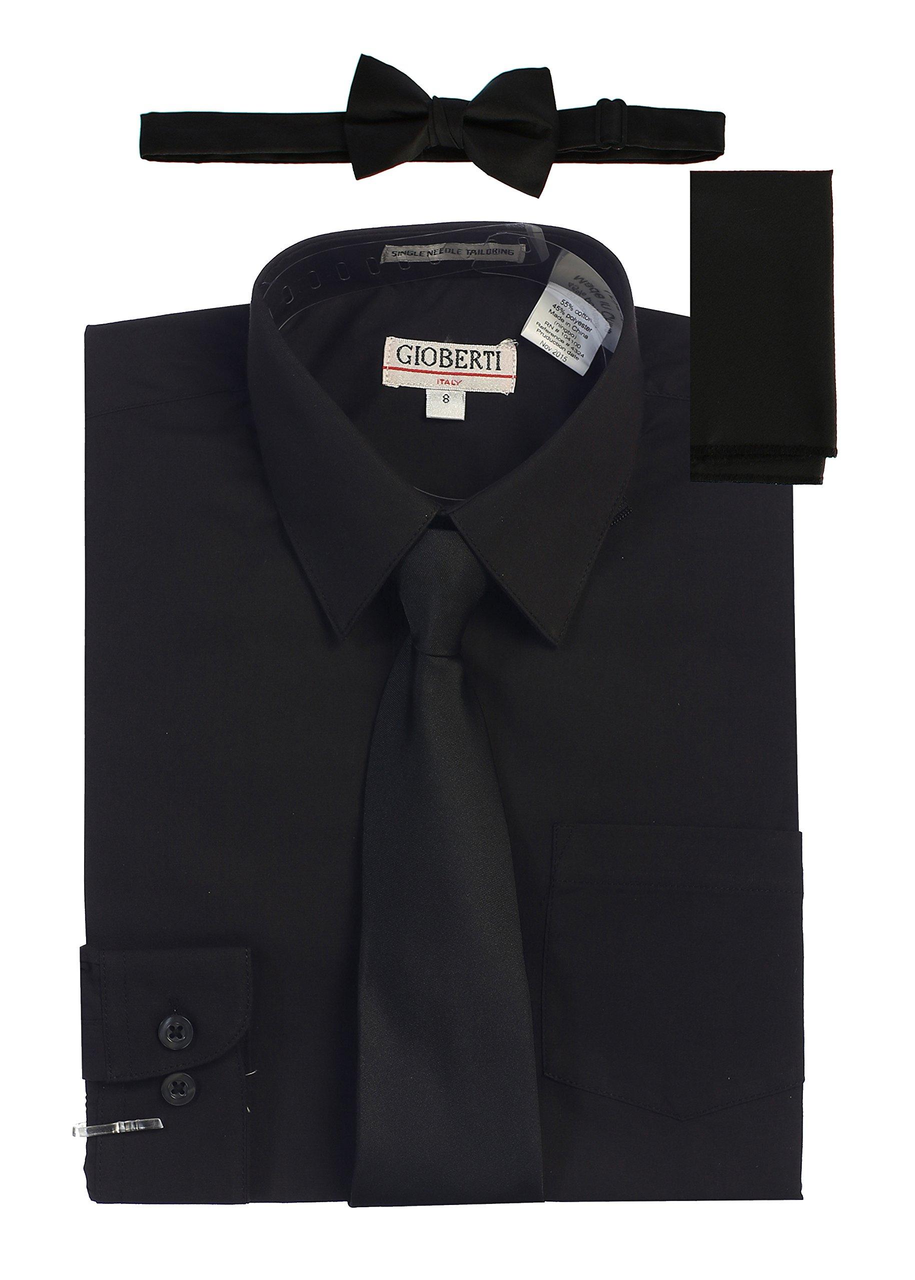 Gioberti Boy's Long Sleeve Dress Shirt with Zippered Tie, Bow Tie, and Handkerchief Set, Black, Size 14