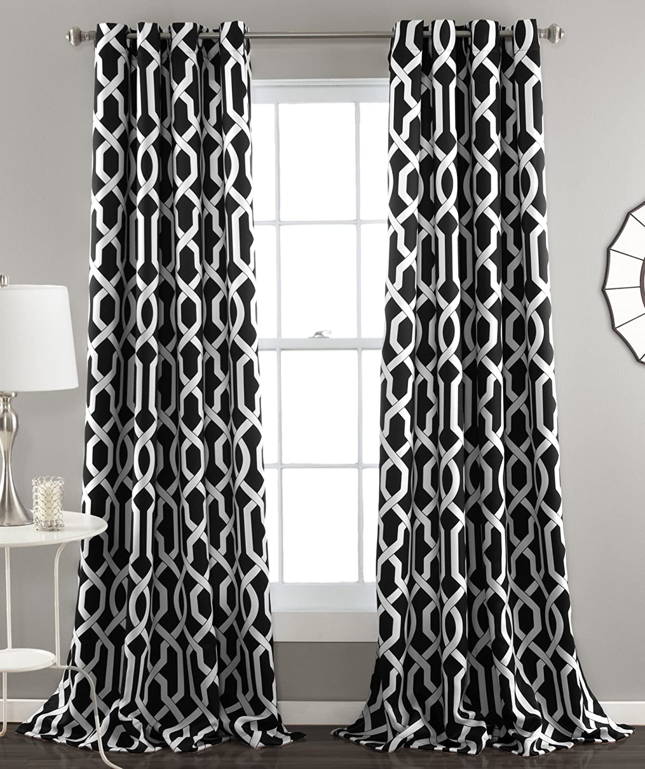 Lush Decor Edward Trellis Room Darkening Window Curtain Panel Pair, 84 inch x 52 inch, Black, Set of 2