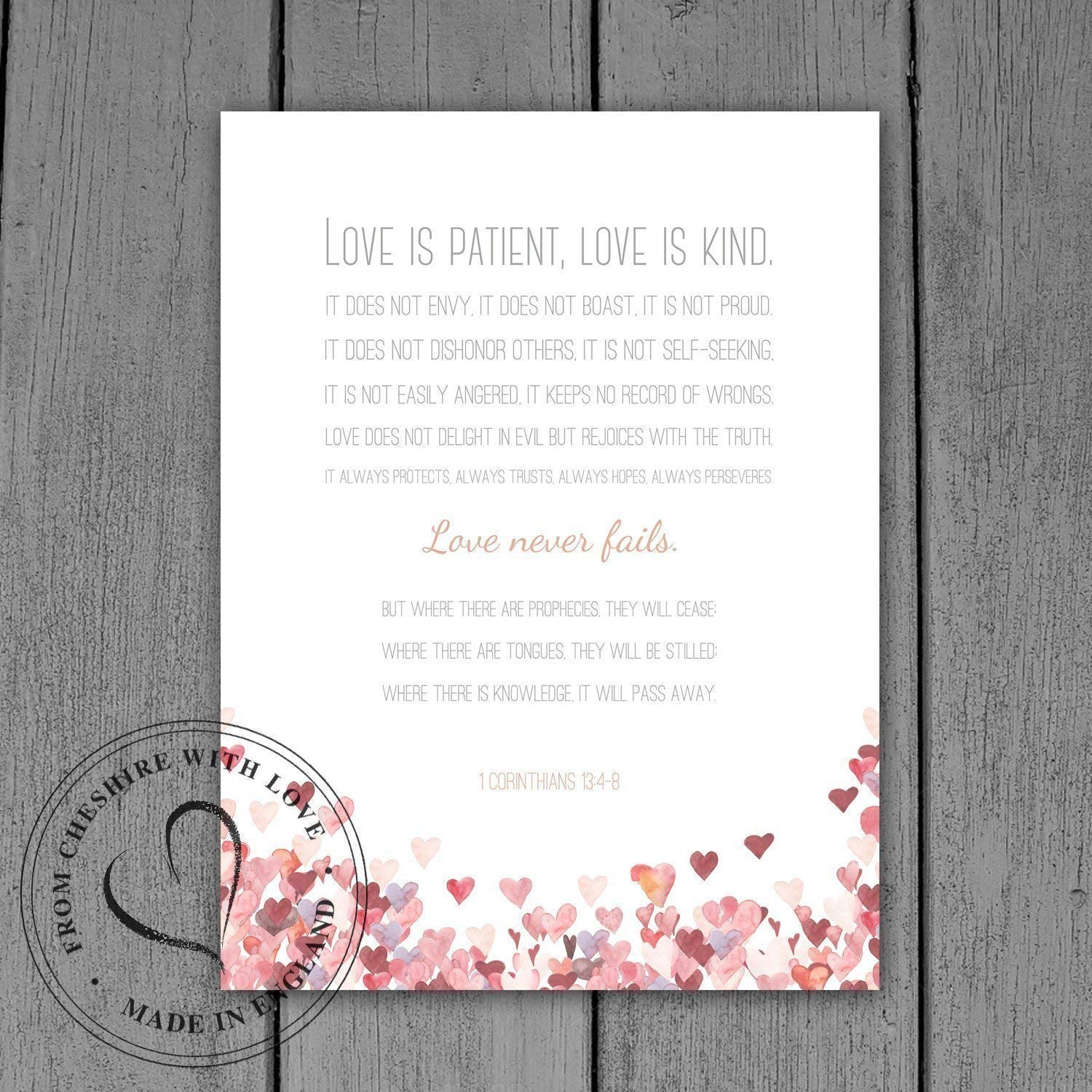 Amazon.com: 1 CORINTHIANS 13:4-8 Bible Verse PRINT 'Love Is Patient, Love Is Kind Love Never Fails.' Makes A Perfect Wedding/Anniversary Gift.