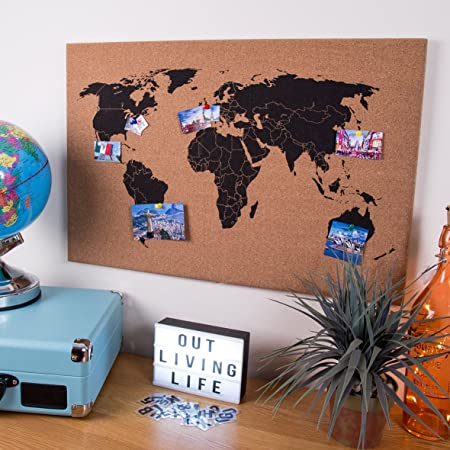 Global gizmos corkboard world map wall hanging decoration memo board global gizmos corkboard world map wall hanging decoration memo board 60x40cm including pins wood gumiabroncs Image collections