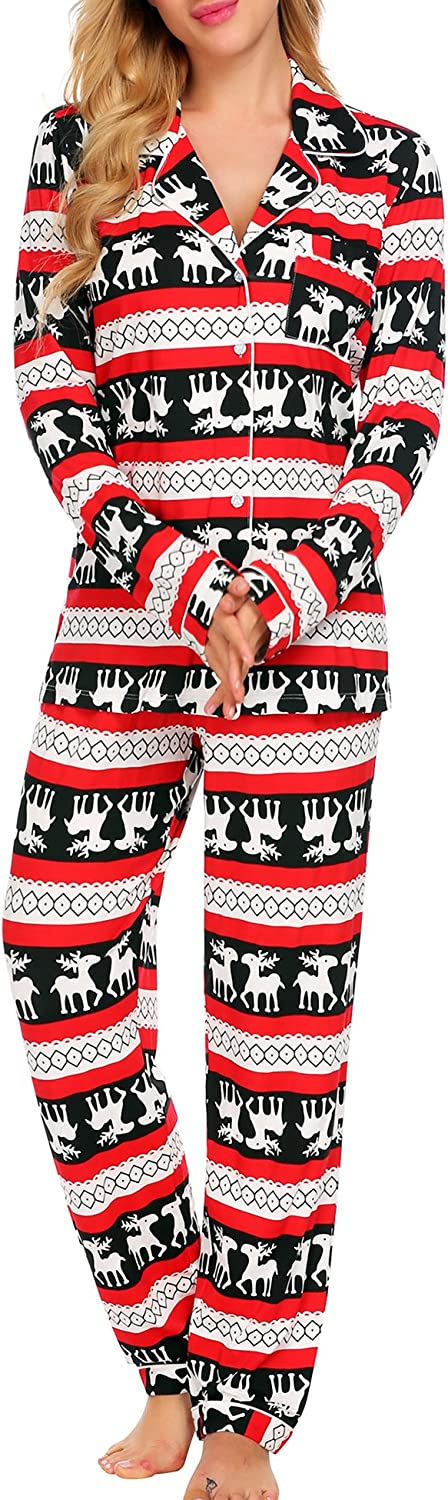 Ekouaer Womens Pajamas Sets Christmas Sleepwear Button Down Nightwear Long Sleeve Comfy Pj Lounge Sets XS-XXL
