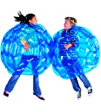 HearthSong Set of 2 Blue BBOP Buddy Bumper Ball Inflatable Blow Up Giant Wearable Body Bubble Zorb Soccer Suit Heavy Duty Durable PVC Vinyl Kids Adults Physical Outdoor Active Play 36'' Inches Diam