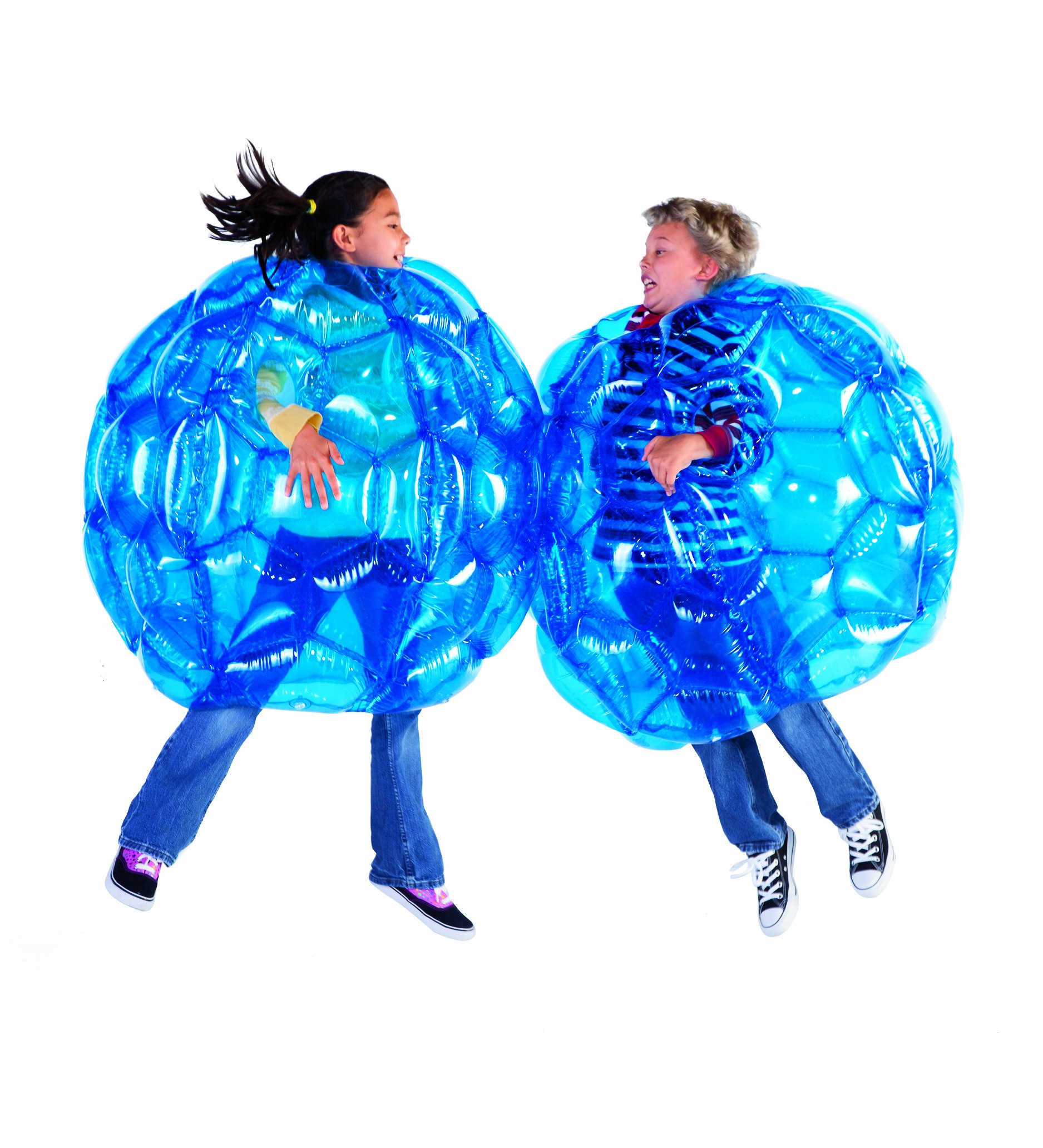 HearthSong 36''-diam. Set of 2 Blue Buddy Bumper Ball Inflatable Blow Up Giant Wearable Bubble Heavy Duty Durable PVC Vinyl by HearthSong