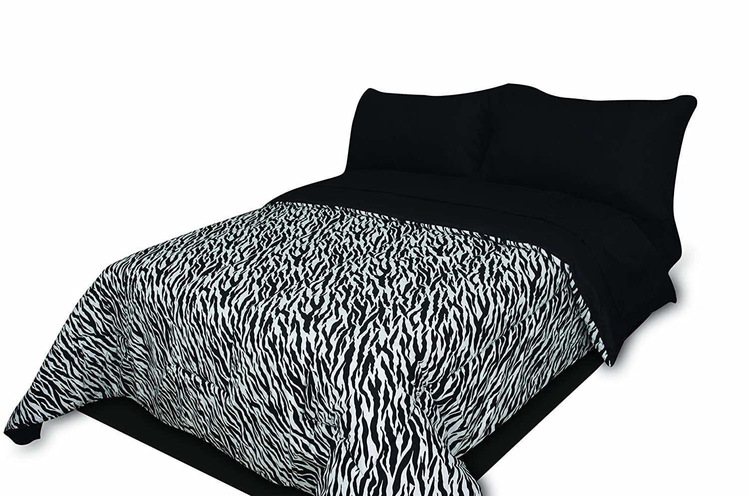 Divatex Home Fashions 75 GSM Super Soft Microfiber Mini Bed in The Bag, Zebra Black/White, Twin Extra Long 348233ZEB-TXL