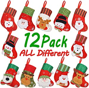 LimBridge Christmas Mini Stockings, 12 Pack 6.25 inches Small 3D Kids Mixed Set, Felt Xmas Tree Santa Claus Snowman Reindeer Gift Card Silverware Holders, Mini Personalized Holiday Treat Bags