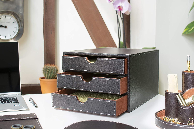 Osco Cassettiera in ecopelle con 3 cassetti Marrone colore