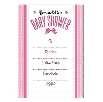 Bebé Ducha Blank invitación, 16 unidades, las niñas lazo ...