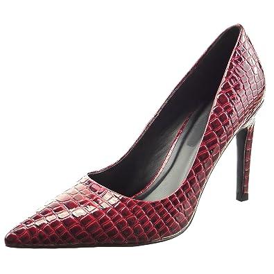 Sopily - Zapatillas de Moda Tacón escarpín stiletto Tobillo mujer piel de serpiente patentes Talón Tacón de aguja alto 9.5 CM - Rojo FRF-8-YX-2 T 36 WkjXOD
