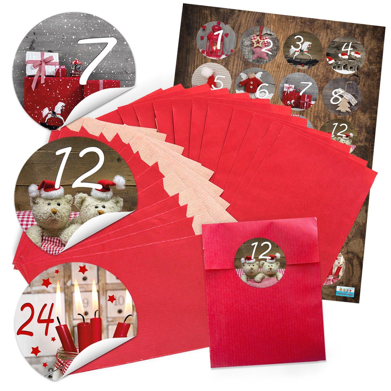 96 rojos paquetito Calendario de Adviento (9,5 x 96 14 cm) y 96 x redondas 4 cm