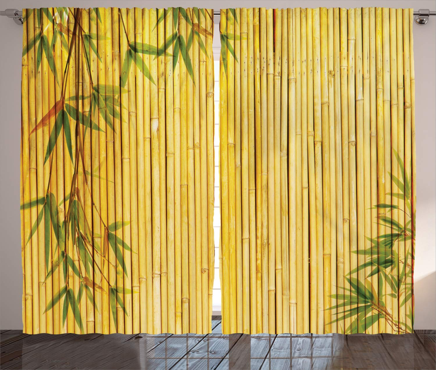 Ambesonne Bamboo House Decor Collection, Light Golden Bamboo Background with Tree Branches Exotic Plants Zen Peaceful Art, Living Room Bedroom Curtain 2 Panels Set, 108 X 90 Inches, Green