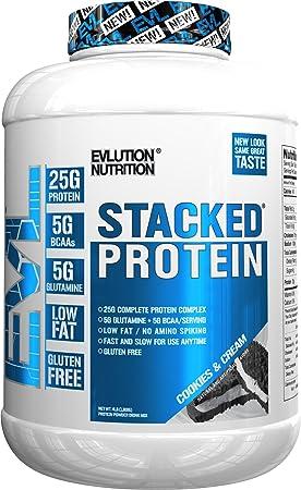 Evlution Nutrition Stacked Protein Proteína en Polvo con 25 Gramos de Proteínas, 5 Gramos de BCAA y 5 Gramos de Glutamina (Cookies & Cream, 1,82 kg)