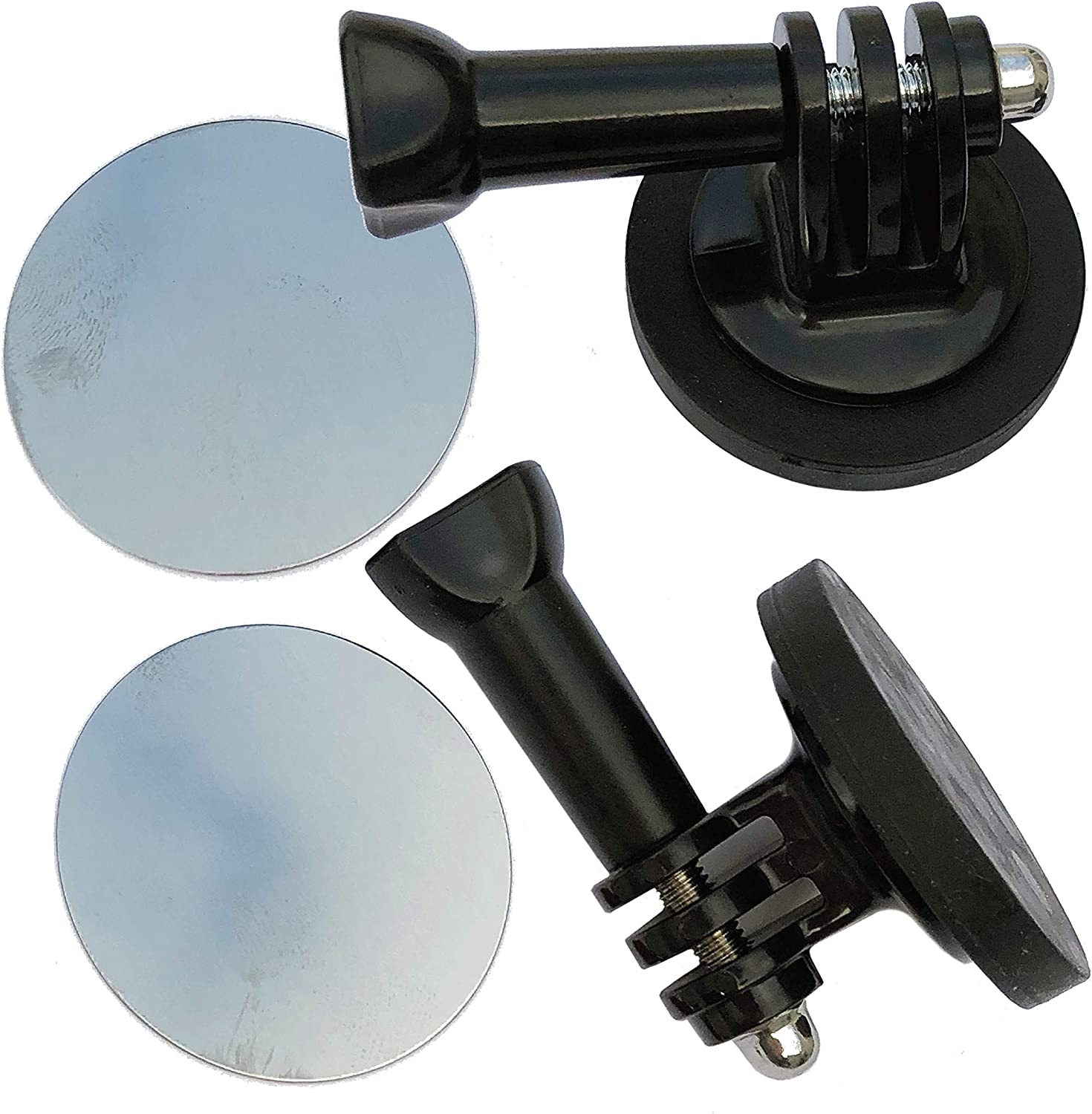 2-Pack FREAKMOUNT Freaky-Strong Rubber-Coated Magnetic Gopro Action Camera Mount w/Thumb Screws & Stick-On Metal Disc/Windshield Mount Too!