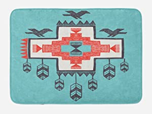 """Ambesonne Tribal Bath Mat, Hand Drawn Dreamcathcher Folkloric Birds Image, Plush Bathroom Decor Mat with Non Slip Backing, 29.5"""" X 17.5"""", Teal Coral"""