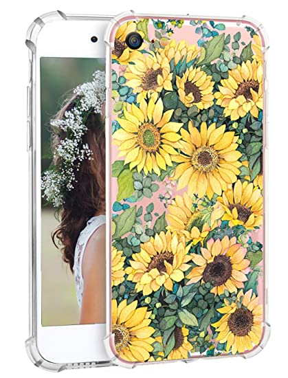 on sale fd148 0f5c6 iPhone 8 Case Sunflower Cute iPhone 7 Case Flowers Floral Clear Phone Case  Protective Transparent Soft Flexible Cover Case with TPU Bumper Scratch ...
