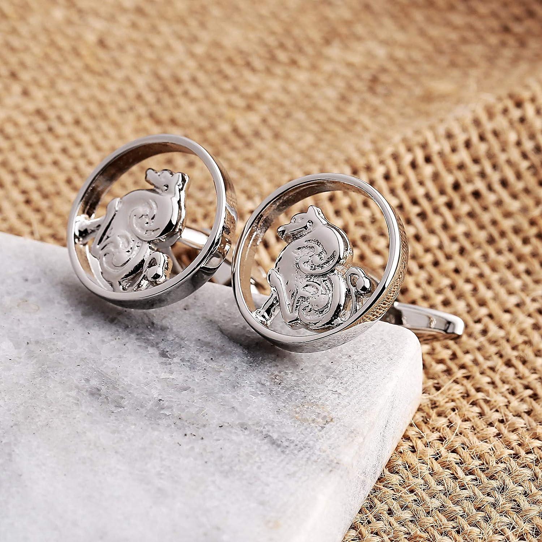 Stainless Steel 12 Zodiac Animal Cufflinks for Business Wedding Plain Silver Gnzoe Jewelry-Mens Cuff Links