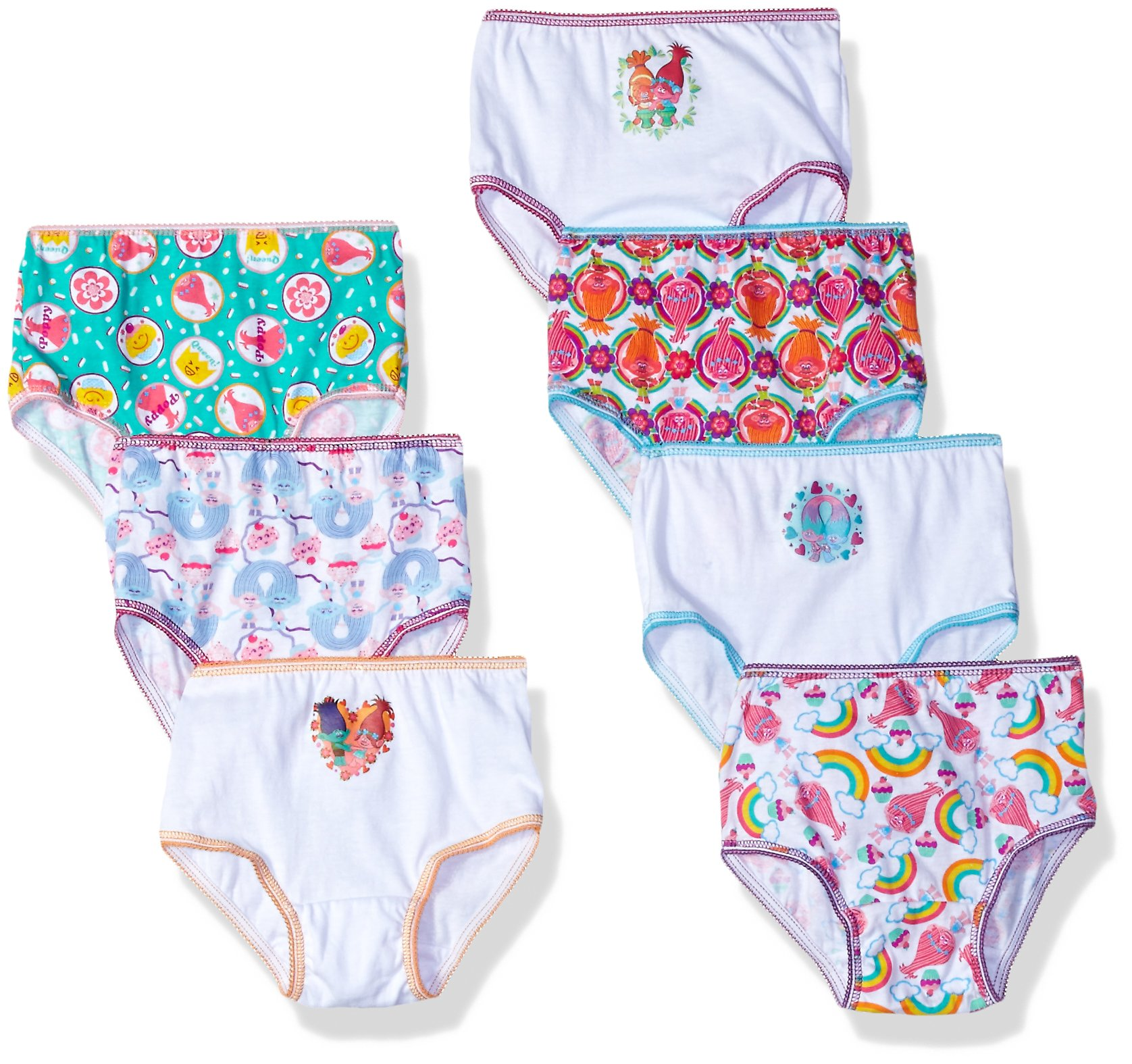 Dreamworks Toddler Girls' 7-Pack Trolls Underwear Panty, Troll/Multi, 2T/3T