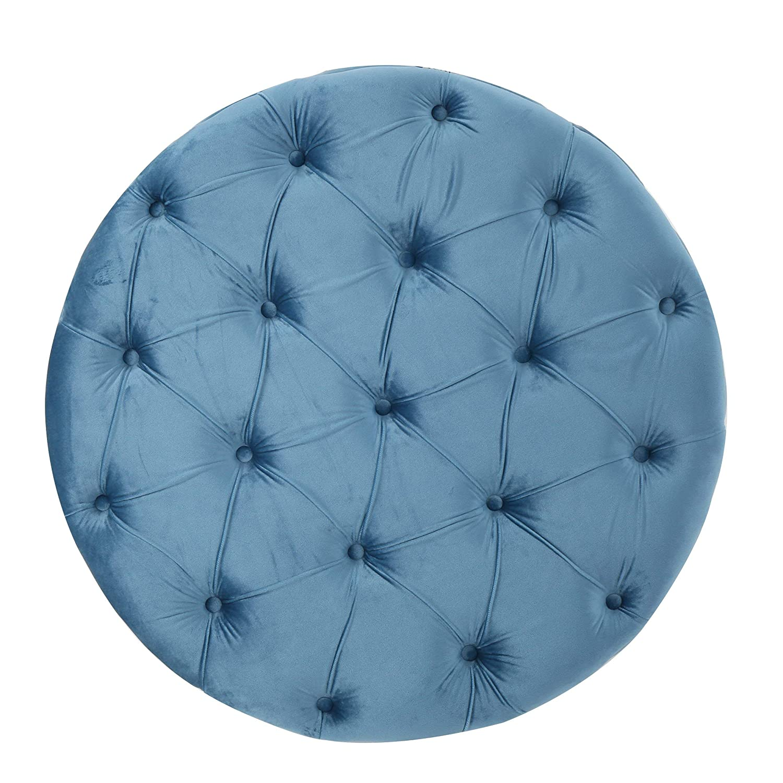 Christopher Knight Home 300776 Living Zuma New Velvet Ottoman Aqua , Baby Blue