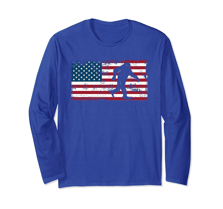 Patriotic Bigfoot USA Merica 4th of July Long Sleeve Shirt-fa