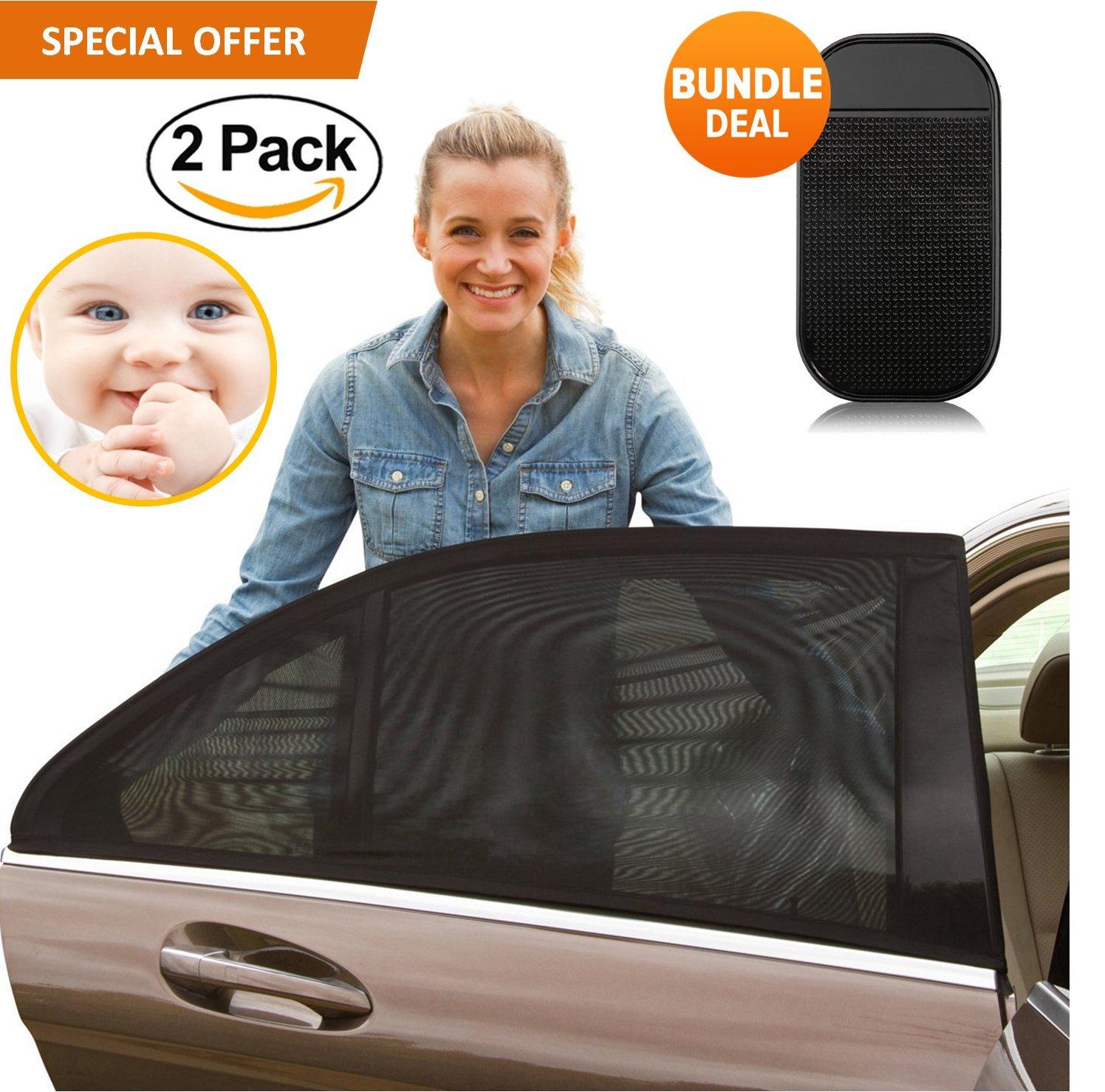 PRIMIUM Universal Car Window Shade 2 Pack - verbesserte Auto Sonnenschutz Baby und Kinder mit UV-Schutz für Kinder und Haustiere Premium Auto Fenster ohne Sun haftet- bonus Armaturenbrett Anti-rutsch-Matte FabQuality