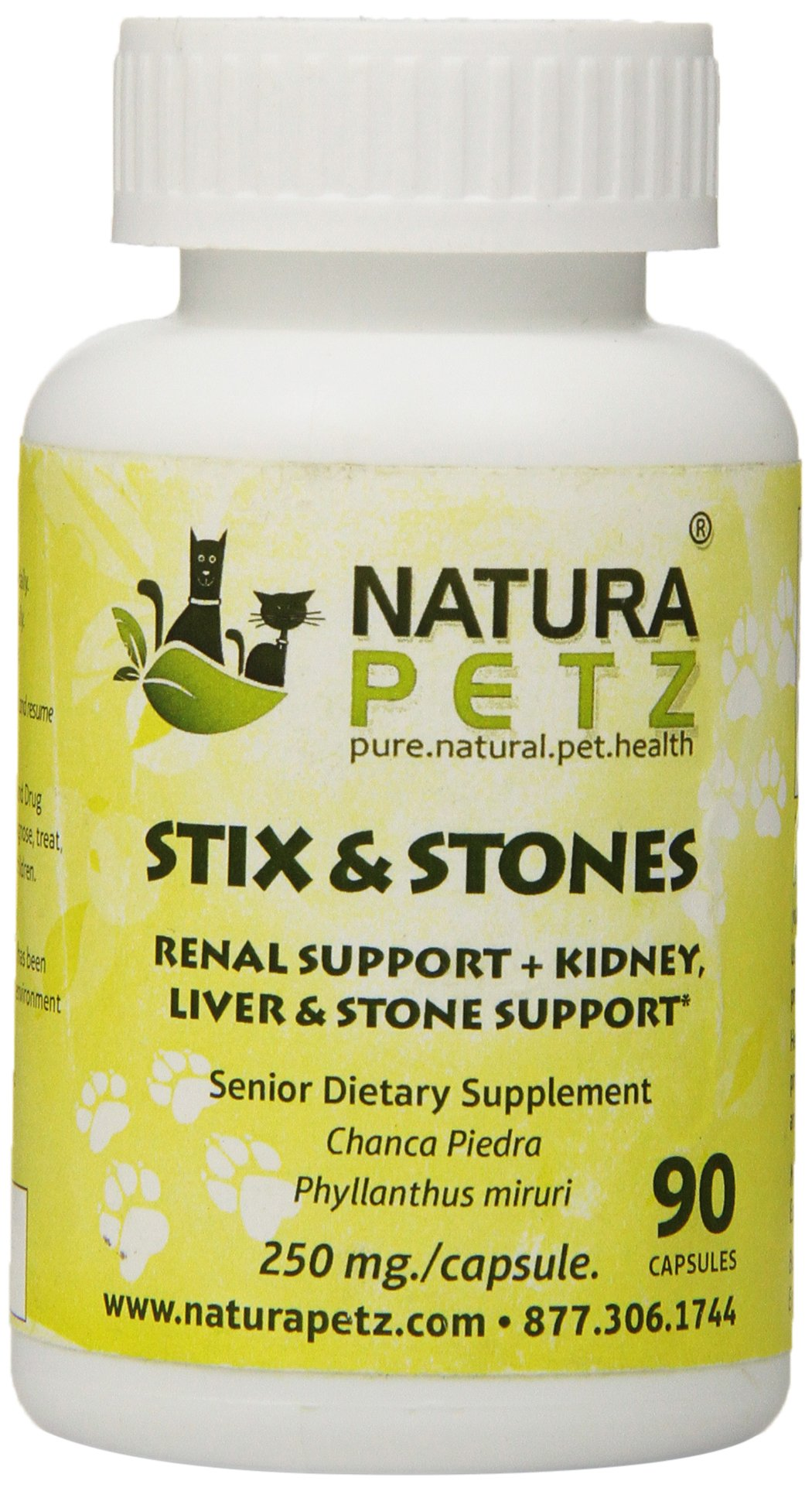 Natura Petz Stix and Stones Renal Support for Senior Pets, Kidney, Liver and Stone Support for Senior Pets, 90 Capsules, 250mg Per Capsule