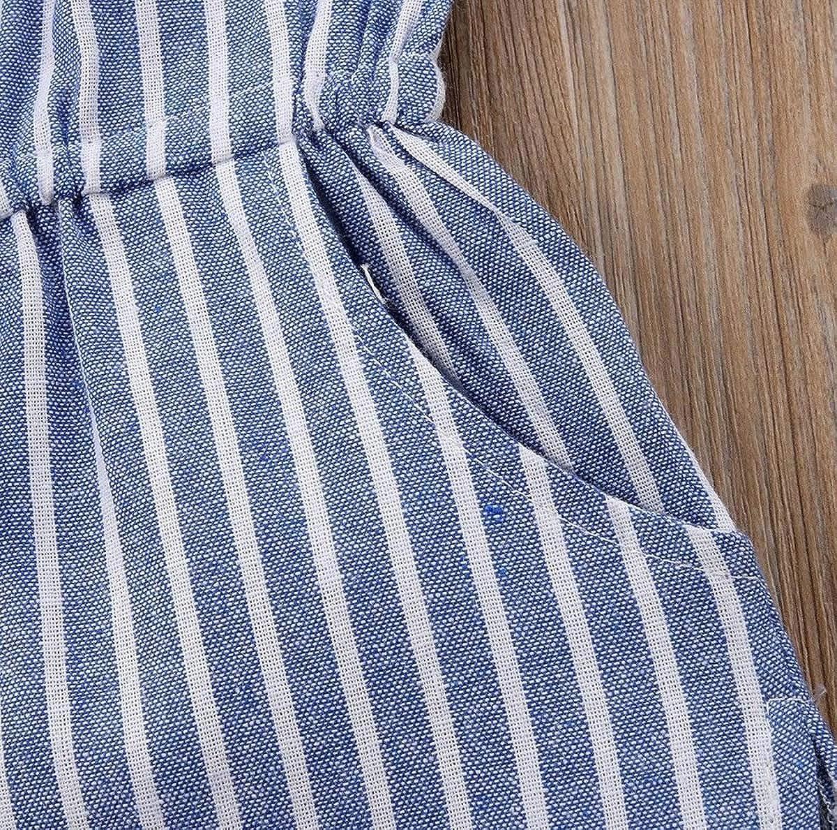 , 2-3 T Toddler Little Girl Demin Off Shoulder Ruffle Pocket Striped Romper Jumpsuit Clothes Set Blue Stripe